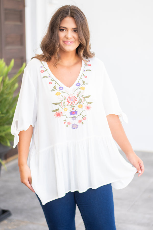 shirt, short sleeve, vneck, tie sleeves, flowy, long, white, embroidery, green, purple, yellow, pink, comfy, spring, summer