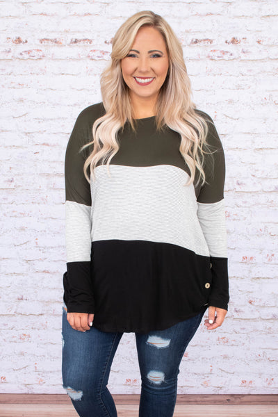 shirt, long sleeve, curved hem, button sides, olive, white, gray, stripes, black, colorblock, comfy, fall, winter