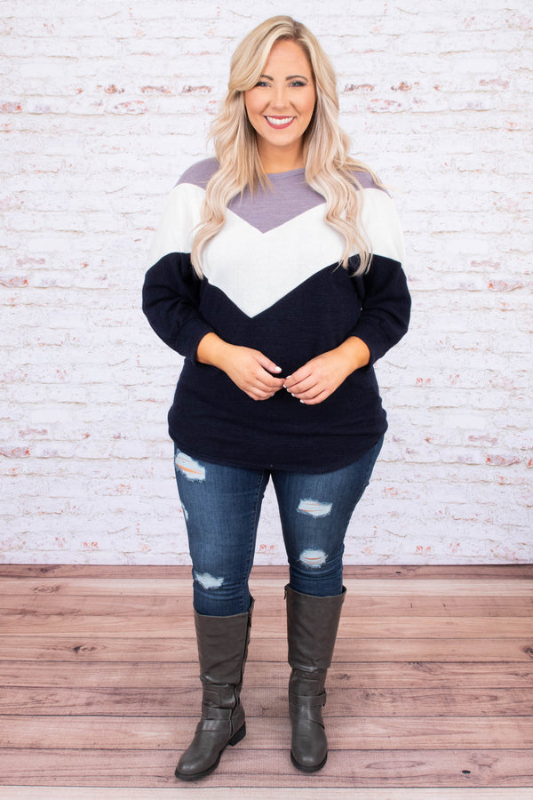 top, casual top, long sleeve, color block, black, white, purple, comfy