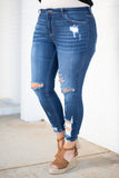 jeans, dark blue, distressed, ripped, ankle length, skinny