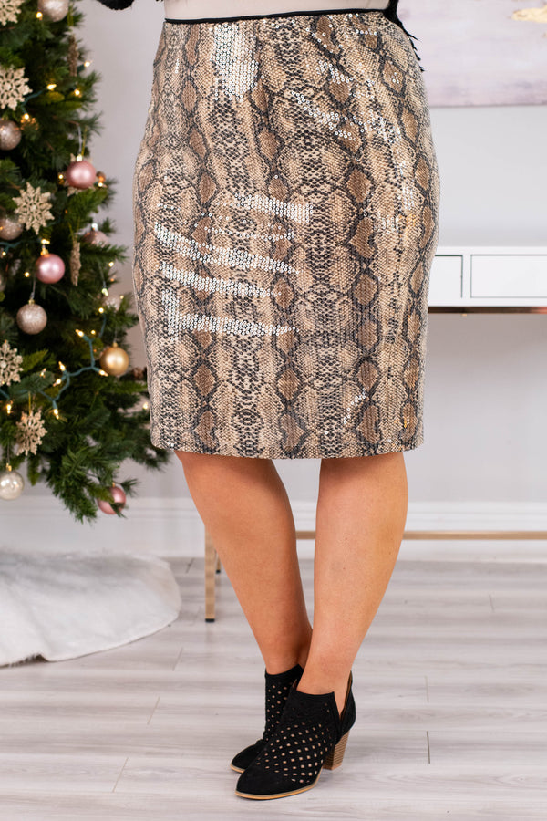 skirt, below the knee, fitted, sequin finish, tan, black, snakeskin