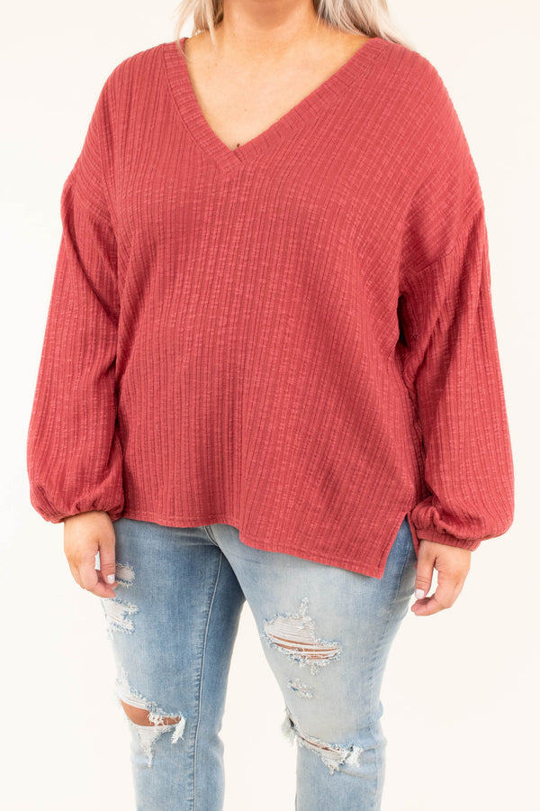 shirt, long sleeve, bubble sleeves, vneck, short, flowy, ribbed, red, comfy, fall, winter
