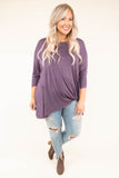 tunic, three quarter sleeve, knotted hem, long, loose, purple, comfy