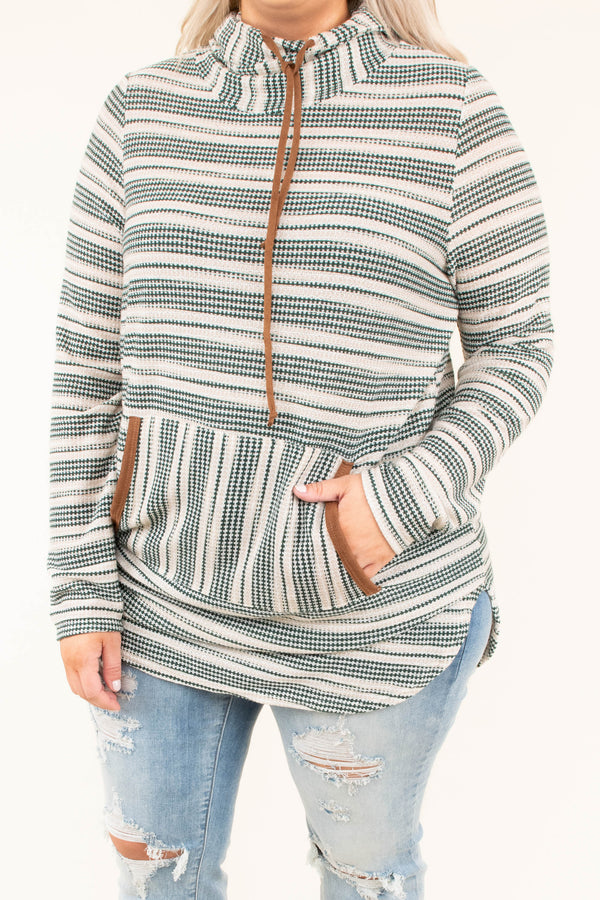 hoodie, long sleeve, curved hem, long, fitted, front pocket, hood, drawstrings, green, tan, striped, brown accents, comfy, outerwear, fall, winter