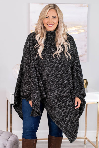 poncho, long sleeve, turtle neck, asymmetrical hem, black, heathered, comfy, outerwear, fall, winter