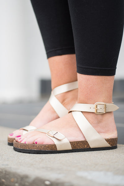 Sunny Afternoon Sandals, Gold