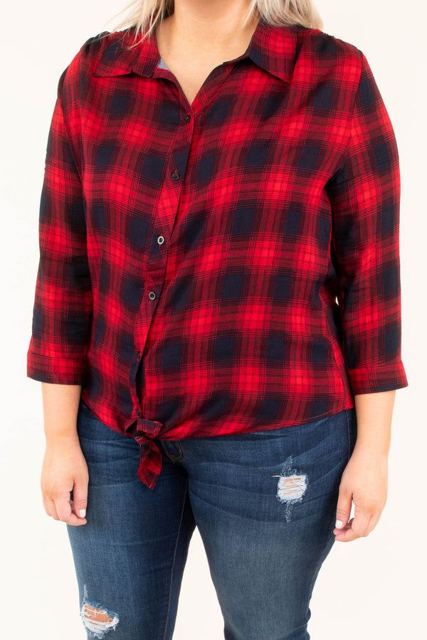 shirt, three quarter sleeve, collared, button down, tie front, red, black, plaid, short, comfy, fall, winter