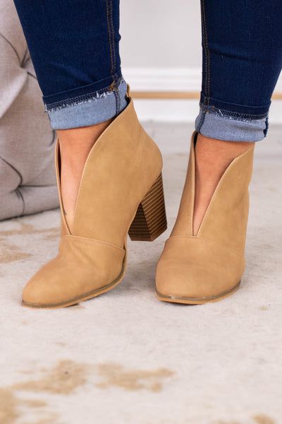booties, heel, v cut out, closed toe, tan, brown heel