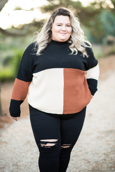 top, sweater, long sleeve, warm, neutral, colorblock, crew neck, fall, winter