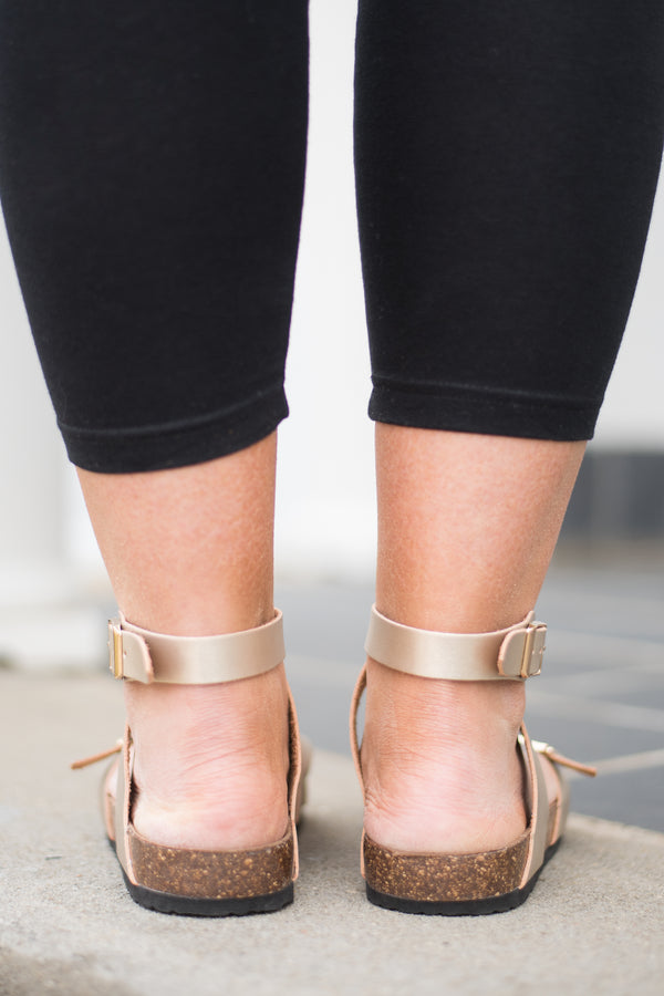 sandals, strappy, buckles, cork sole, gold, ankle wrap, spring, summer