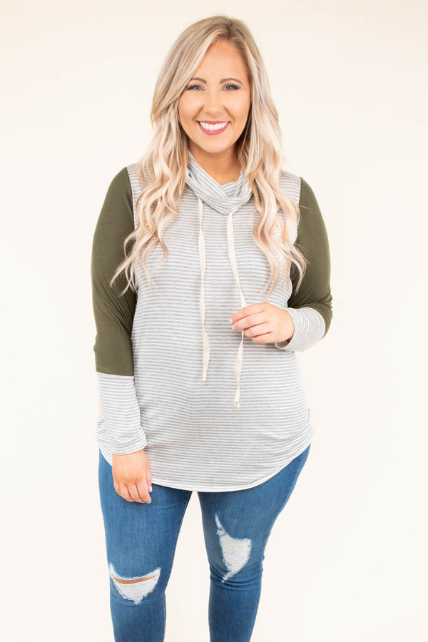 hoodie, long sleeve, cowl neck, drawstrings, curved hem, gray, white, olive, stripes, colorblock, comfy, outerwear, thin