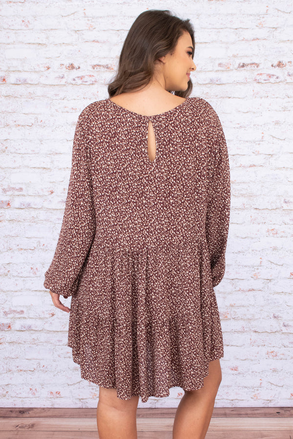 dress, short, long sleeve, bubble sleeves, curved hem, flowy, burgundy, floral, white, comfy, fall, winter