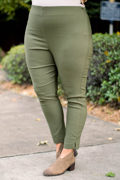 pants, olive, solid, long, slit hem, stretchy, comfy