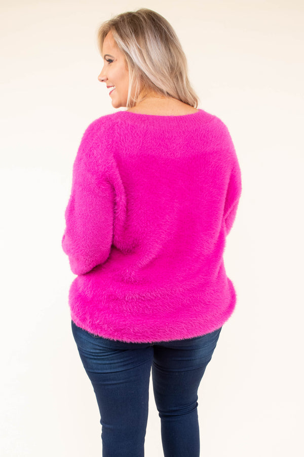 sweater, long sleeve, bubble sleeves, vneck, fuzzy, fuchsia, comfy, fall, winter