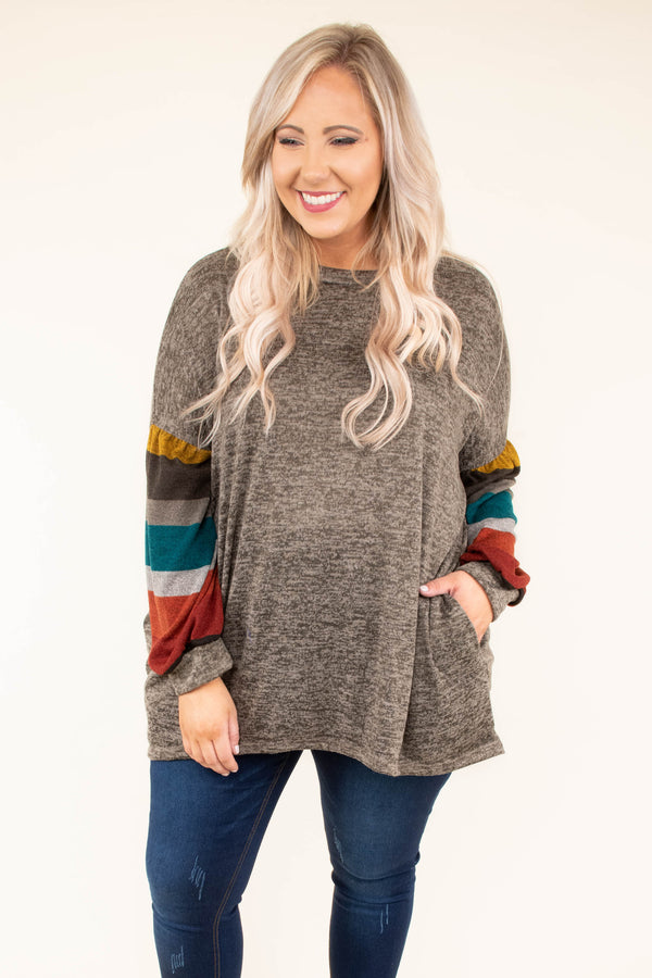 tunic, long sleeves, bubble sleeves, dropped shoulder, brown, striped sleeves, mustard, blue, orange, red, loose, fall, winter