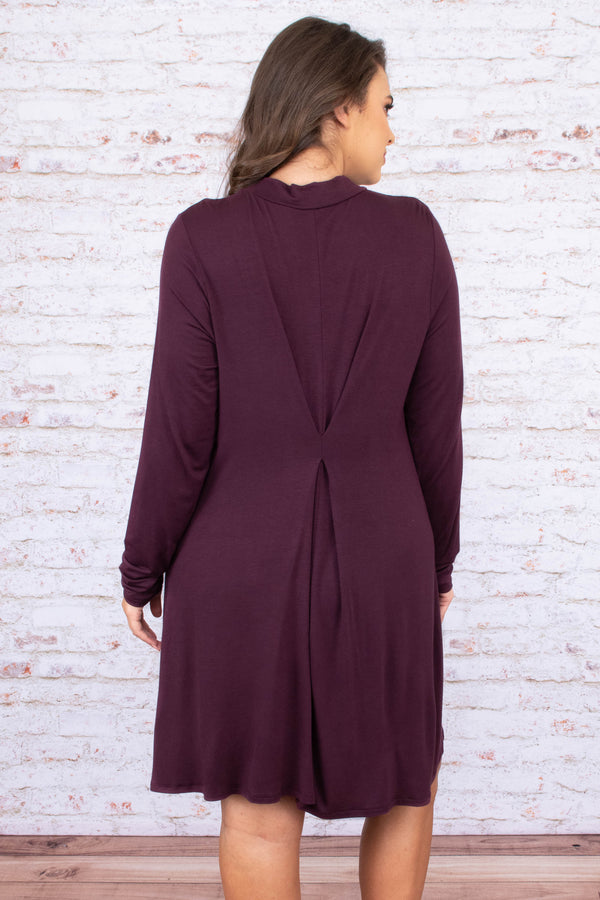 dress, short, long sleeve, turtleneck, flowy, plum, comfy, fall, winter