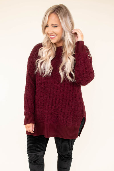 Without Warning Sweater, Dark Burgundy
