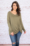 shirt, long sleeve, vneck, twisted hem, flowy, long, olive, comfy, fall, winter