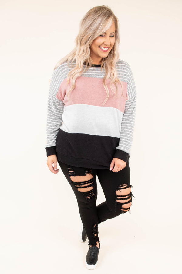 shirt, long sleeve, long, loose, gray, white, stripes, pink, black, colorblock, comfy, fall, winter