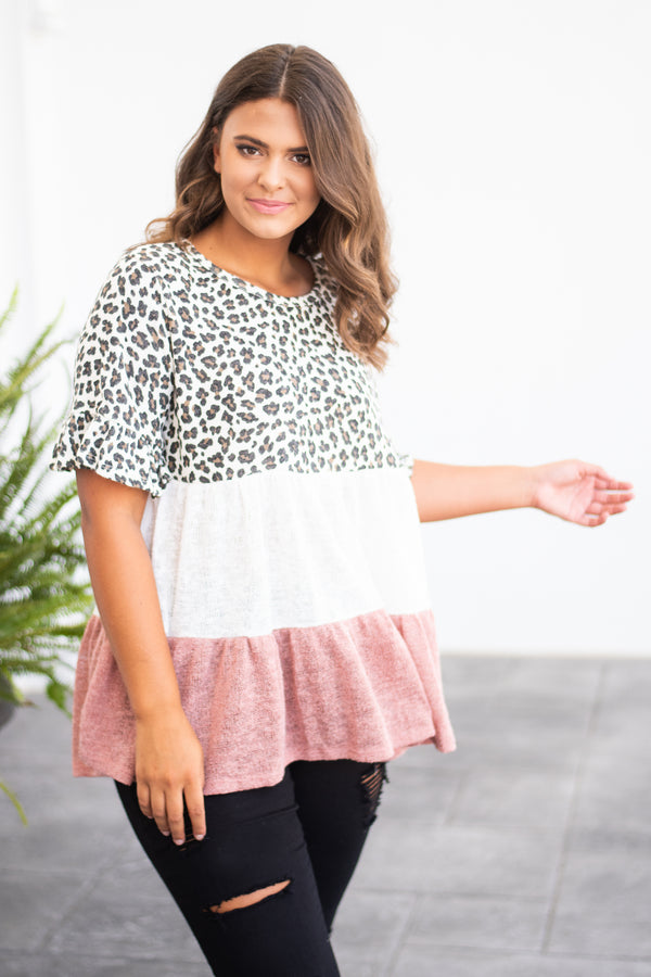 top, short sleeve, color block, leopard, ivory, pink, baby doll fit