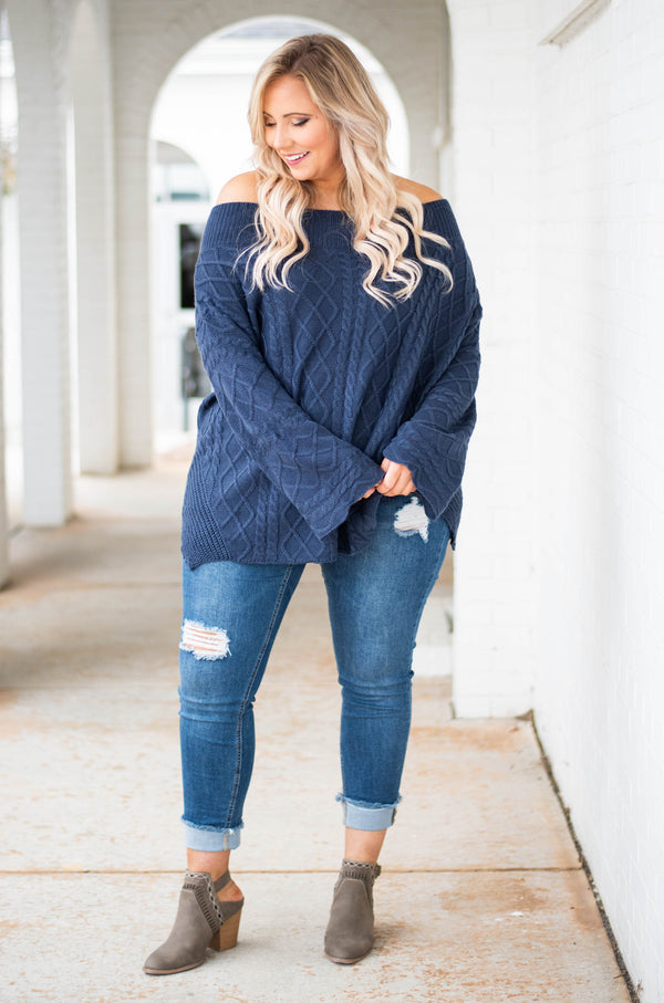 sweater, long sleeve, off the shoulder, bell sleeve, long, navy, solid, comfy, fall, winter