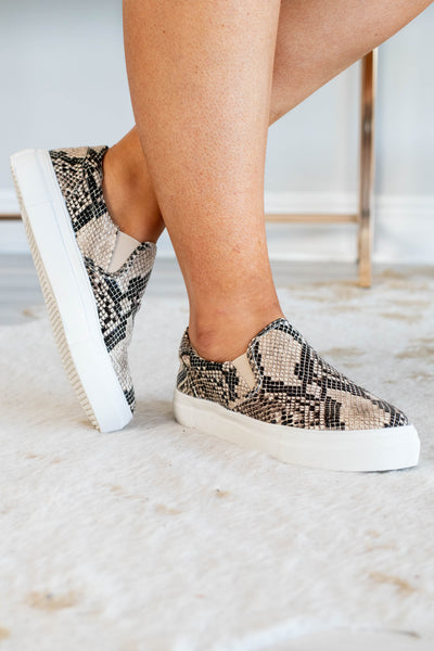 shoes, slip on, tennis shoes, python print, snake print, natural, tan