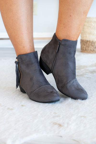 shoes, boots, booties, zip up, ankle height, heeled, gray, tassel detail