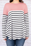 shirt, long sleeve, curved hem, elbow patches, flowy, white, black, pink, stripes, colorblock, comfy, fall, winter