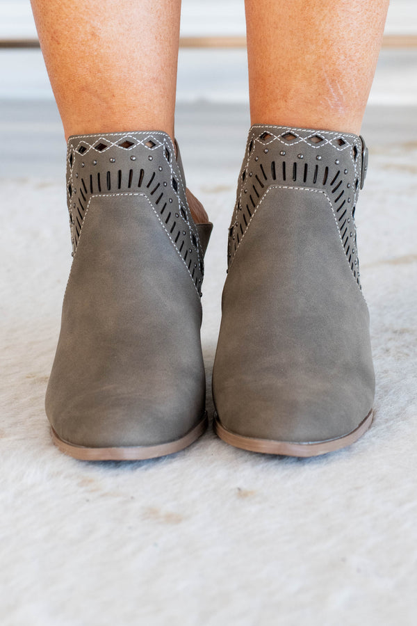 booties, heel, close toed, open heel, heel strap, diamond cut outs, stitched details, taupe