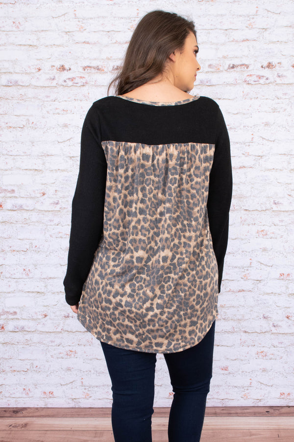 tunic, long sleeve, chest pocket, glitter pocket, black, leopard back, brown, comfy, fall, winter