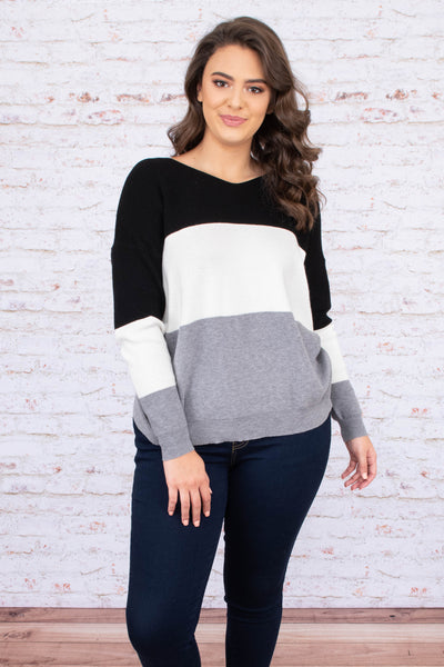 sweater, long sleeve, vneck, short, twisted back, deep v back, black, white, gray, colorblock, comfy, fall, winter