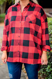 shirt, three quarter sleeves, button down, chest pocket, cuffed sleeves, red, black, plaid, fall, winter