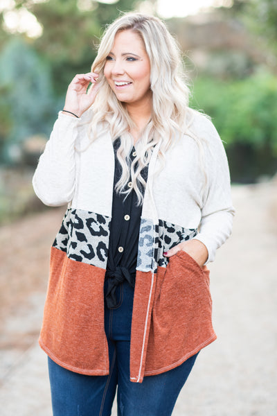cardigan, long sleeve, long, pockets, white, gray, black, orange, leopard, colorblock, outerwear, comfy, fall, winter