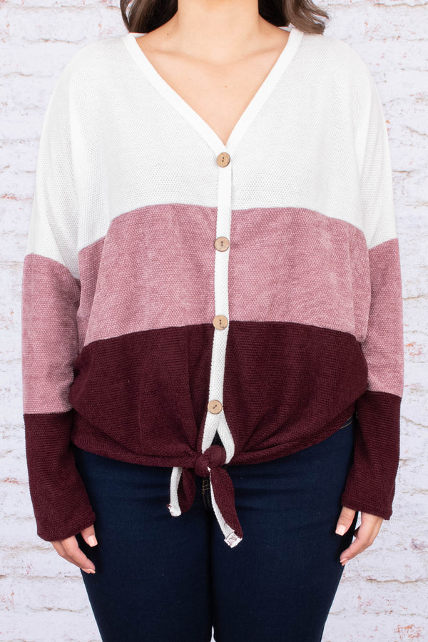 shirt, long sleeve, vneck, button down, tie front, short, white, mauve, burgundy, colorblock, comfy, fall, winter