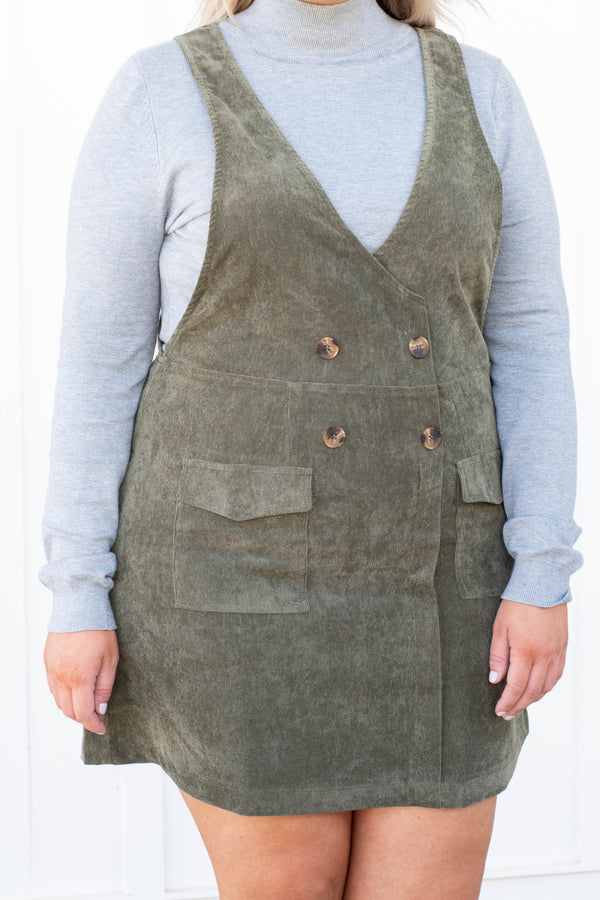 jumper, short, sleeveless, vneck, wrap dress, buttons, pockets, corduroy, olive, comfy, fall, winter