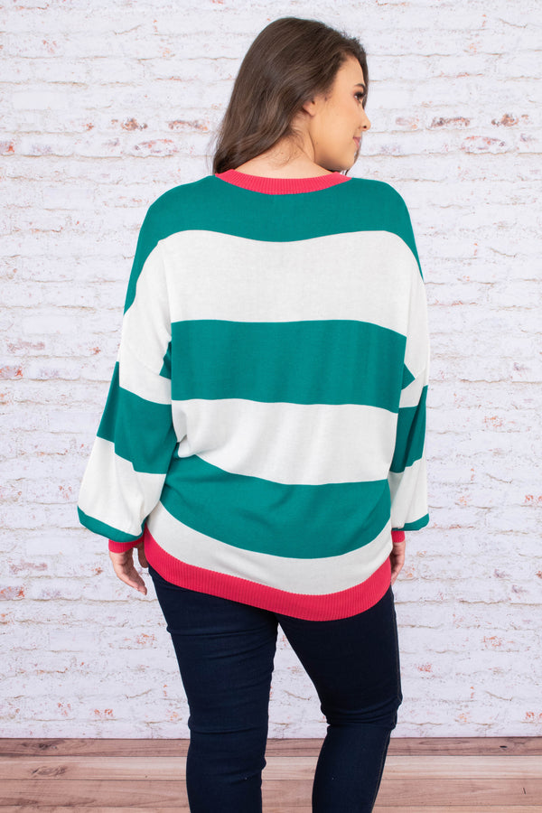 sweater, long sleeve, bubble sleeves, long, fitted waistband, pink hems, white, green, striped, comfy, fall, winter