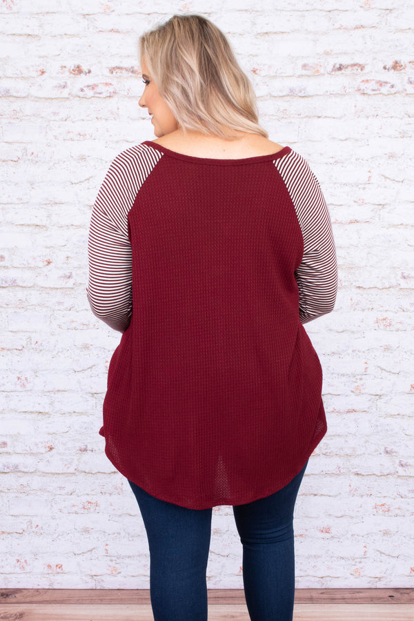 shirt, three quarter sleeve, vneck, button down, curved hem, long, waffle knit, wine, striped sleeves, white, comfy