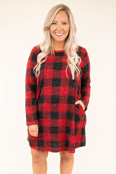 dress, short, long sleeve, curved hem, pockets, red, black, plaid, flowy, comfy, fall, winter