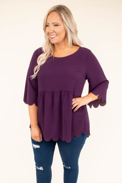 shirt, three quarter sleeves, babydoll, scalloped sleeves, scalloped hem, longer back, eggplant, solid, keyhole back
