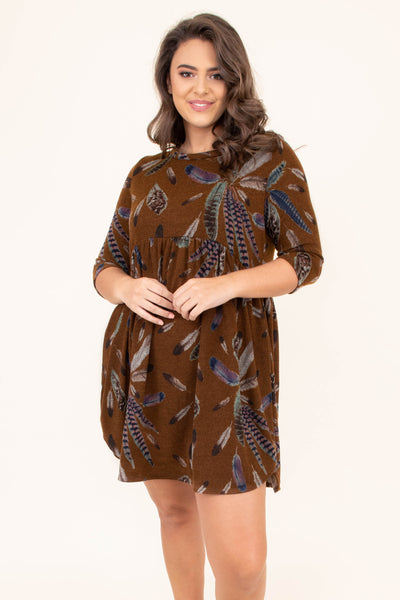 dress, short, three quarter sleeve, babydoll, curved hem, flowy, mustard, feathers, brown, green, blue, comfy, fall, winter