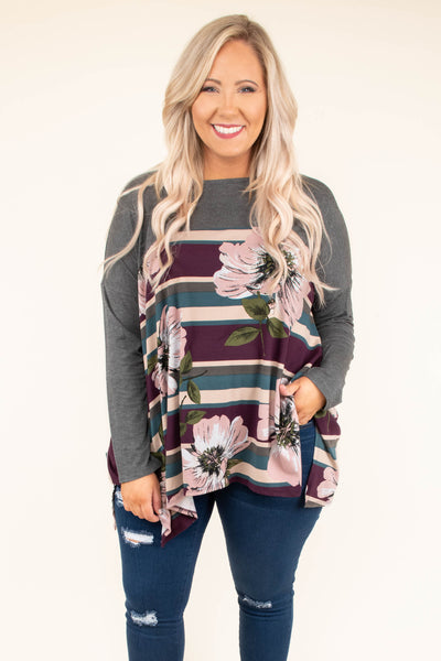 shirt, long sleeve, asymmetrical hem, side slits, flowy, charcoal, stripes, tan, purple, teal, floral, pink, green, comfy