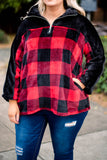 pullover, long sleeve, quarter zip, black, red, plaid, colorblock, curved hem, fuzzy, comfy, fall, winter