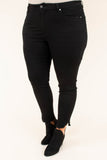 jeans, ripped hem, black, long, skinny