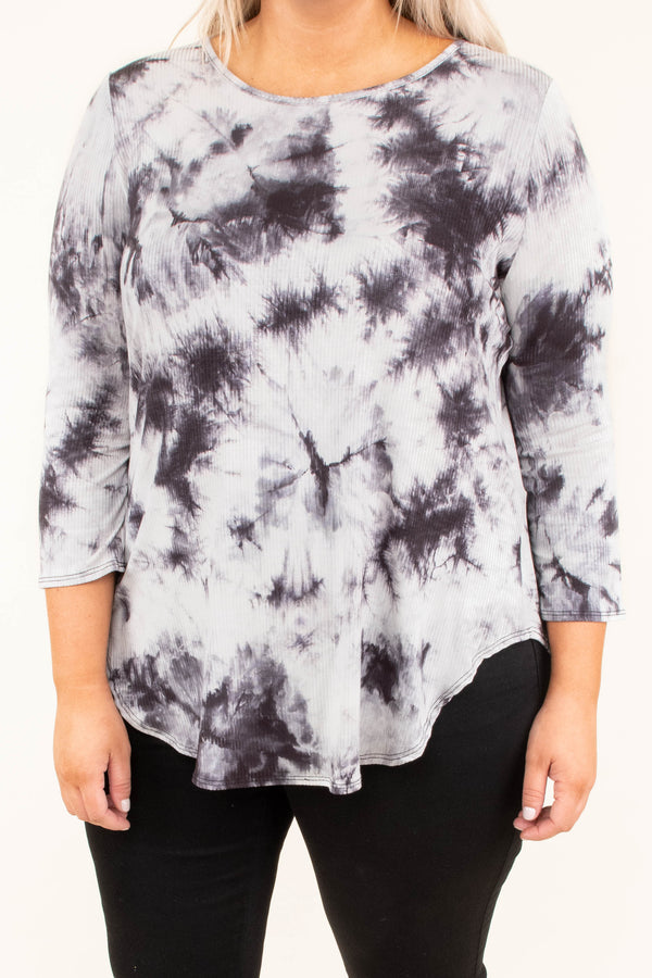 shirt, three quarter sleeve, curved hem, charcoal, white, tie dye, comfy, flowy