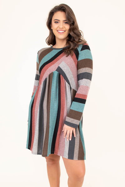 dress, long sleeve, babydoll, flowy, mint, pink, black, gray, coral, brown, striped, comfy, fall, winter