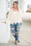 top, sweater, white, solid, long sleeve, off the shoulder, v neck, winter, fall, comfy