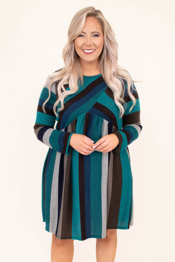 dress, long sleeve, babydoll, flowy, teal, navy, gray, black, brown, striped, comfy, fall, winter