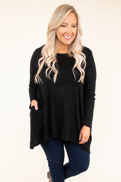 shirt, long sleeve, long, asymmetrical hem, pockets, flowy, black, comfy, fall, winter