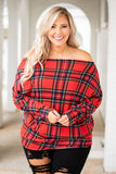 shirt, long sleeve, off the shoulder, fitted hem, frumpy, red, black, plaid, comfy, fall, winter