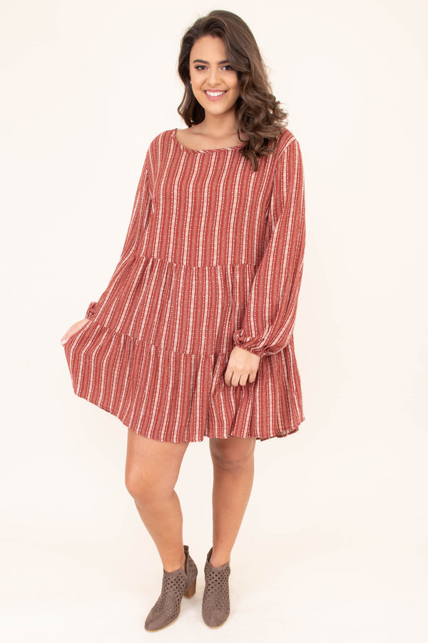 dress, short, long sleeve, bubble sleeves, babydoll, ruffles, rust, white, striped, flowy, keyhole back, comfy